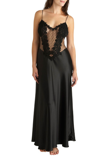 Prepared for the Premier Slip Gown - Black, Solid, Polka Dots, Lace, Flower, Vintage Inspired, 50s, Pinup