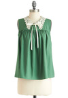District Chorus Top - Green, Tan / Cream, Solid, Lace, Sleeveless, Mid-length, Bows, Daytime Party, Collared