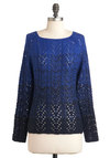Late Night Flight Sweater - Mid-length, Blue, Black, Knitted, Casual, Fall
