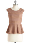 It Comes Neutrally Top - Solid, Lace, Party, Cap Sleeves, Peplum, Mid-length, Tan