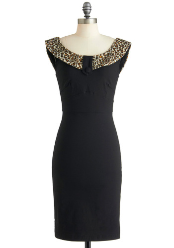 Luxe Be a Leopard Dress - Black, Brown, Animal Print, Sheath / Shift, Sleeveless, Cocktail, Long, Tan / Cream, Holiday Party, Party, Pinup, Vintage Inspired, 40s