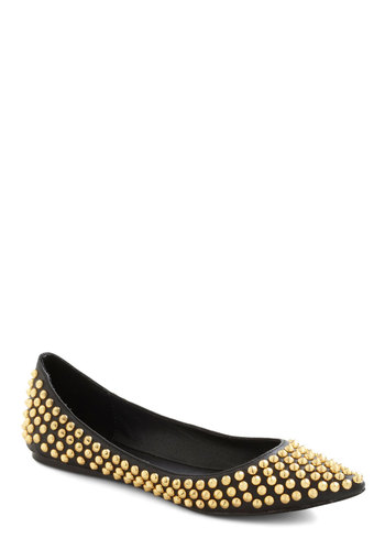 Point It Out Flat by Steve Madden - Gold, Studs, Flat, Leather, Luxe, Black