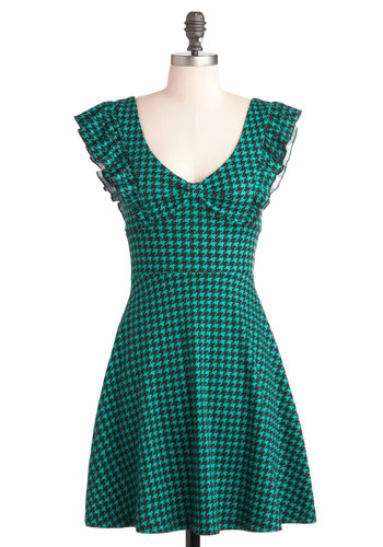A-maizing Harvest Dress in Teal Houndstooth - Green, Black, Houndstooth, Ruffles, A-line, Cap Sleeves, Jersey, Short, Casual