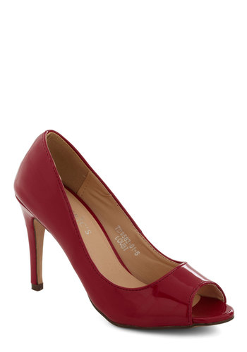 Sass in Your Step Heel in Red - Red, Solid, Peep Toe, Mid, Faux Leather, Holiday Party