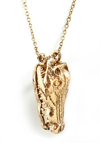 For the Gator Good Necklace - Gold, Print with Animals, Quirky