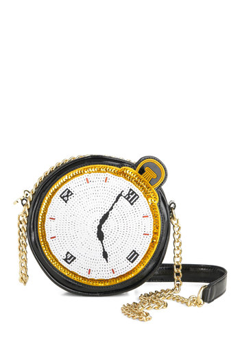 Betsey Johnson Watch and Learn Bag by Betsey Johnson - Black, White, Gold, Beads, Sequins, Party, Statement, Luxe, 20s, Special Occasion