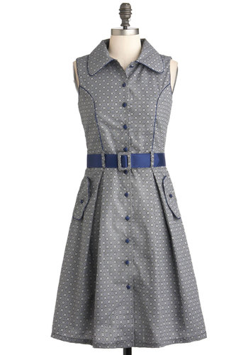Bisto Brunch Dress - Print, Buttons, Pockets, Belted, Casual, Shirt Dress, Sleeveless, Long, Grey, Blue, Collared, Vintage Inspired, 50s, International Designer, Work