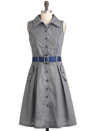 Bisto Brunch Dress - Print, Buttons, Pockets, Belted, Casual, Shirt Dress, Sleeveless, Long, Grey, Blue, Collared, Vintage Inspired, 50s, International Designer, Work