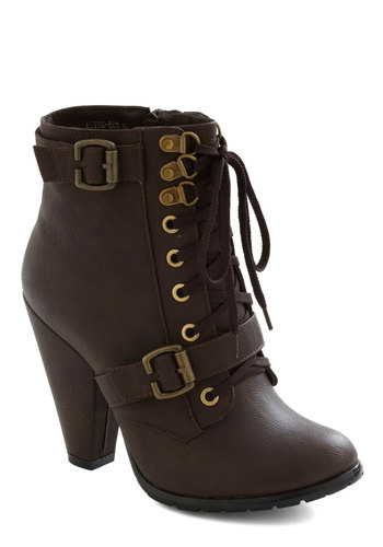 All-Ladies Road Trip Bootie - Buckles, High, Lace Up, Military, Brown