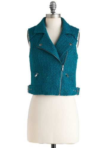 Teal the Noise Vest - Short, Blue, Vintage Inspired, 90s, Sleeveless, Buckles, Solid, Exposed zipper, Pockets, Casual, Fall