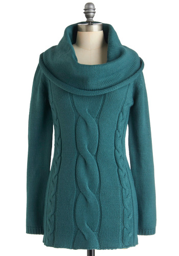 Cable Car Cowl Sweater in Bay - Blue, Solid, Knitted, Casual, Long Sleeve, Long, Cowl, Winter, Exclusives