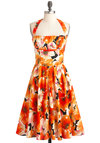 Yours Always Dress in Poppies by Bernie Dexter - Cotton, Long, Orange, Floral, Pockets, Ruching, Daytime Party, Halter, Pinup, Fit & Flare, Beach/Resort