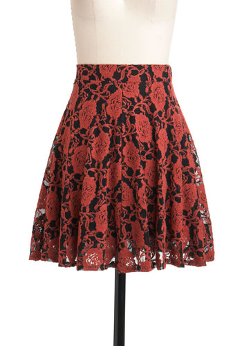Demure Meets Daring Skirt in Persimmon - Black, Floral, A-line, Short, Party, Daytime Party, Winter