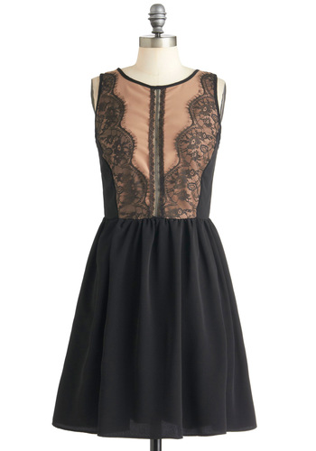 Elegant Romance Dress - Black, Tan / Cream, Lace, Party, A-line, Sleeveless, Mid-length, Cutout, French / Victorian