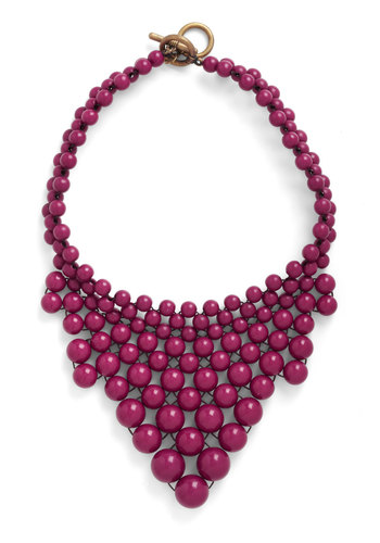Just Bead Yourself Necklace in Concord - Red, Solid, Beads, Statement, Party, Casual