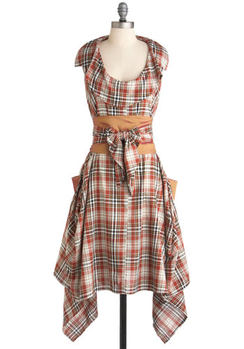 Sheen the Light Dress - Orange, Multi, Plaid, Pockets, Ruffles, Belted, Sleeveless, Fall, Sack, Boho, Steampunk, International Designer