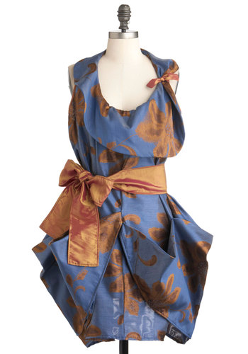 Avant Flower Garden Dress - Blue, Orange, Floral, Belted, Luxe, Statement, Sleeveless, Cocktail, Party, International Designer