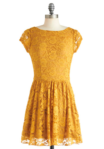 Roadside Poppy Dress - Short, Sheer, Yellow, Solid, Lace, A-line, Cap Sleeves, Casual, Summer
