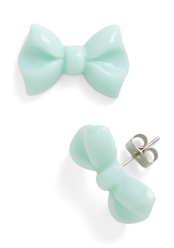 You Bow What I Mint Earrings - Green, Solid, Bows, Kawaii, Party, Casual, Spring, Pastel, Silver