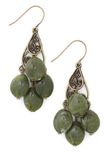 Olive for Today Earrings - Green, Gold, Party, Boho, Gold