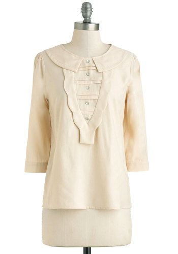 Poundcake the Pavement Top - Cream, Solid, Buttons, Scallops, Work, Mid-length, 3/4 Sleeve, Sheer