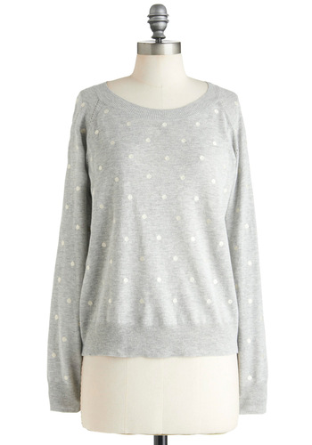 Dot's a Nice Sweater - Grey, White, Polka Dots, Casual, Long Sleeve, Jersey, Mid-length