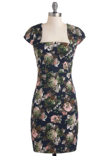 Flora-ffection Dress by Louche - Mid-length, Floral, Exposed zipper, Pockets, Party, Sheath / Shift, Cap Sleeves, Black, International Designer