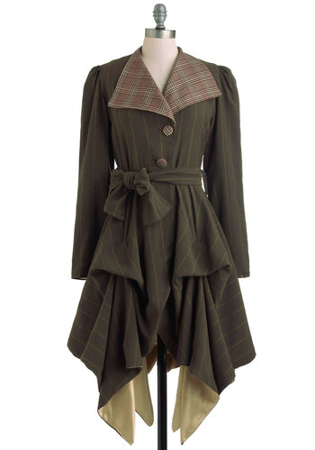 In the Name of Adventure Coat - 2, Green, Red, Tan / Cream, Stripes, Plaid, Buttons, Casual, Steampunk, Fall, Long, French / Victorian, International Designer