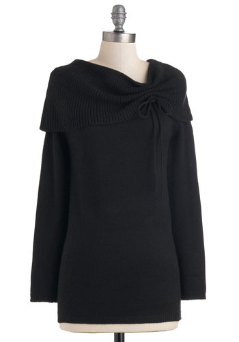 Lauren's Layer on the Luxury Sweater - Long, Black, Solid, Knitted, Casual, Winter