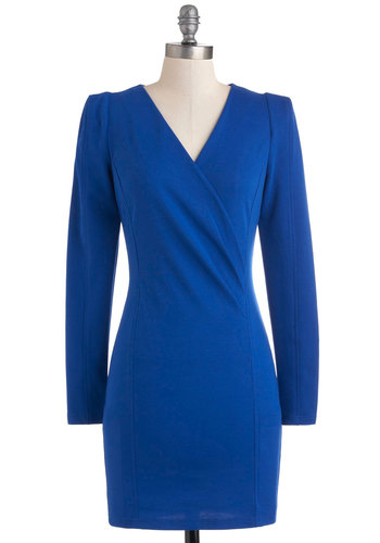 How Do You Figure Dress - Mid-length, Blue, Solid, Exposed zipper, Party, 80s, Shift, Long Sleeve, V Neck, Tis the Season Sale