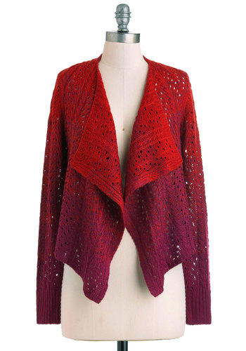 Brick to the Fuchsia Cardigan - Short, Purple, Knitted, Casual, Fall