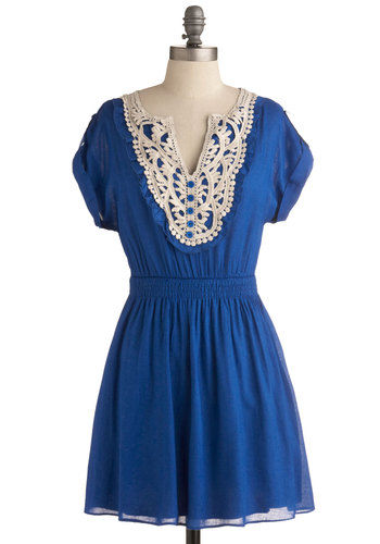 Sapphire For Hire Dress - Blue, White, Buttons, Ruffles, Casual, A-line, Short Sleeves, Spring, Summer, Cotton, Short, Solid, Crochet