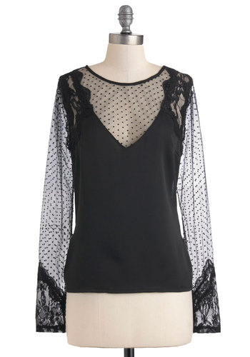 Sheer We Go Again Top - Sheer, Mid-length, Black, Lace, Special Occasion, Steampunk, Long Sleeve