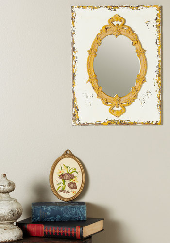 Antique to Me Mirror - White, Yellow, Vintage Inspired, Dorm Decor