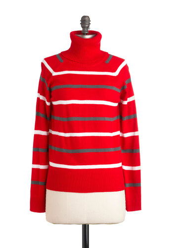 A Stripe to See Sweater in Scarlet - Mid-length, Red, Grey, White, Stripes, Casual, Long Sleeve, Winter