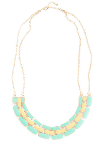 Tuscan Fun Necklace - Yellow, Green, Gold, Chain, Statement