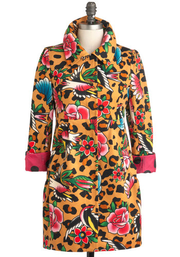 The Sass Menagerie Coat - Long, 2, Animal Print, Rockabilly, Long Sleeve, Multi, Multi, Floral