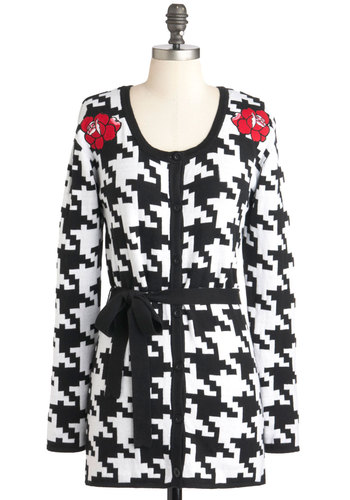 High Fashion Resolution Cardigan - Cotton, Multi, Red, Black, White, Floral, Houndstooth, Buttons, Casual, Quirky, Long Sleeve