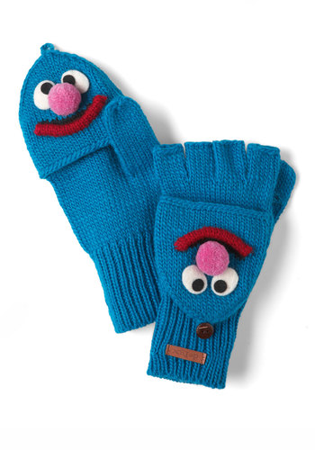 Sesame Sweet Convertible Gloves in Grover - Blue, Multi, Winter, Knitted