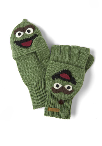 Sesame Sweet Convertible Gloves in Oscar - Green, Multi, Winter, Knitted