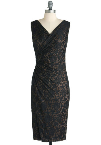 Vaude-Veil Nights Dress - Long, Black, Tan / Cream, Lace, Cocktail, French / Victorian, Shift, Sleeveless, V Neck, Party, Holiday Party, Pinup