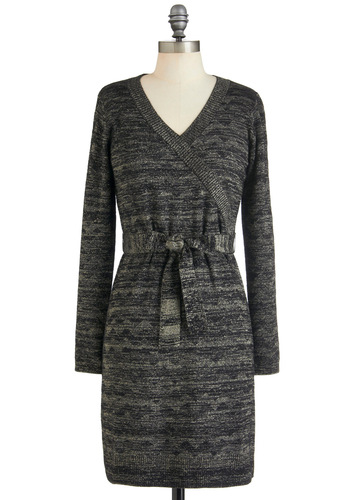 Glammed If You Do Dress - Mid-length, Grey, Black, Sweater Dress, Long Sleeve, Fall, V Neck, Glitter, Party, Holiday Sale