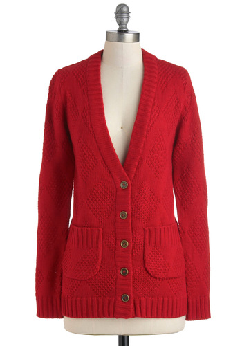 Won't You Be Mine? Cardigan by Tulle Clothing - Red, Solid, Buttons, Pockets, Casual, Scholastic/Collegiate, Long Sleeve, Fall, Mid-length