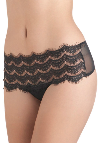 Waist No Time Thong - Black, Tan / Cream, Solid, Lace, Vintage Inspired