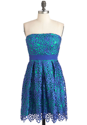 Keep it Reef Dress in Cerulean - Blue, Green, Pleats, Party, Strapless, Mid-length, Floral, A-line, Lace