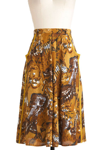 Intuit the Wild Skirt - Yellow, Black, White, Print with Animals, Pockets, Casual, A-line, Long, Brown, Safari