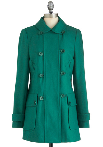 Corner Pocket Coat - Green, Solid, Buttons, Pockets, Long Sleeve, Casual, Hoodie, 3, Winter