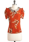 Frilly of the Valley Top in Orange - Tan / Cream, Floral, Short Sleeves, Mid-length, Party, Work, Vintage Inspired, Luxe, Daytime Party