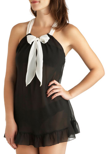 Classic Film Night Sleep Top and Undies Set - Black, Tan / Cream, Solid, Bows, Ruffles, Sheer