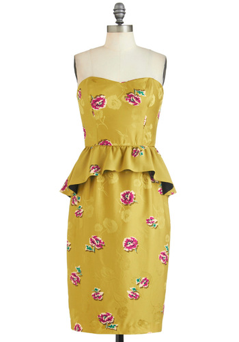 Top of the Chartreuse Dress by Corey Lynn Calter - Yellow, Pink, Floral, Daytime Party, Peplum, Strapless, Sweetheart, Party, Vintage Inspired, Luxe, Long